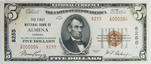 Kansas $5.00 1929 Type 2 The First National Bank of Almena, KS #8255