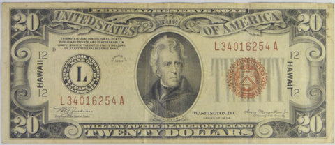 $20.00 1934 A -HAWAII- Federal Reserve Note
