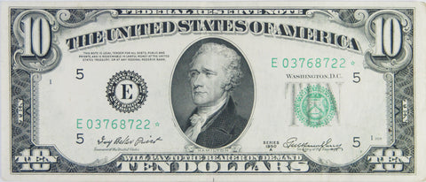 $10.00 1950 A Federal Reserve Note STAR . . . . <br>Choice About Uncirculated