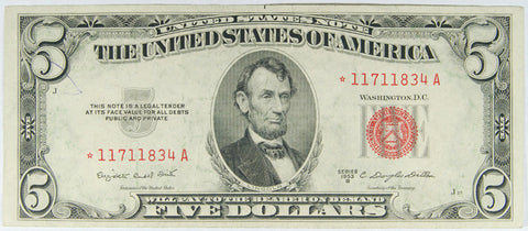 $5.00 1953 B United States Note STAR