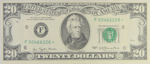 $20.00 1977 Federal Reserve Note STAR F