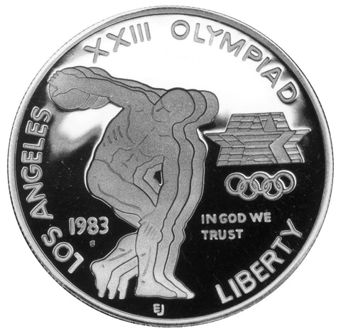 1983-S LA Olympic Discus Thrower Silver Dollar