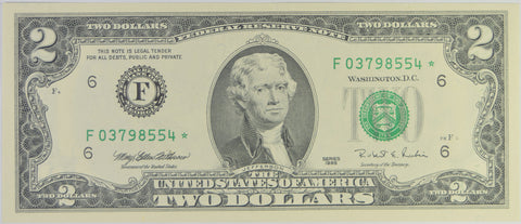 $2.00 1995 Federal Reserve Note STAR