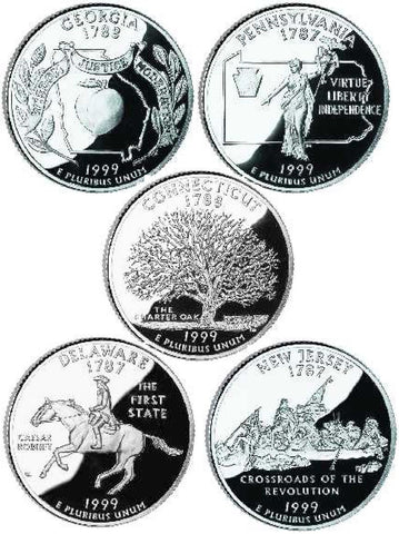 All 10 1999-P and D State Quarters