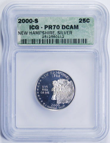 2000-S New Hampshire Quarter <br>ICG PR-70 Deep Cameo Silver