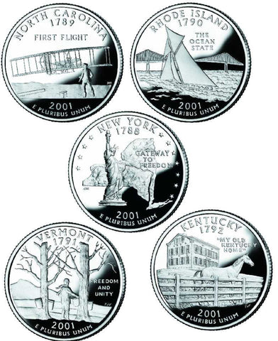 All 10 2001 P and D State Quarters