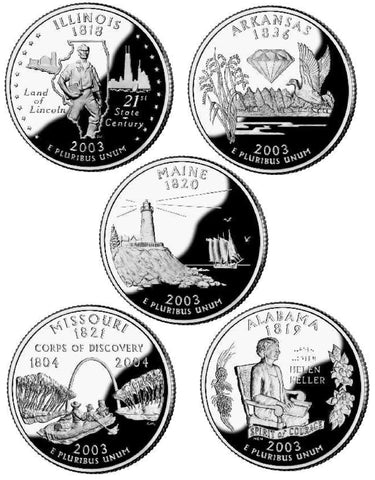 All 10 2003 P and D State Quarters