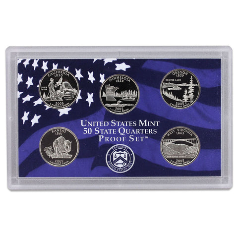 2005-S Statehood Quarter 5-coin Proof Set . . . . Superb Brilliant Proof