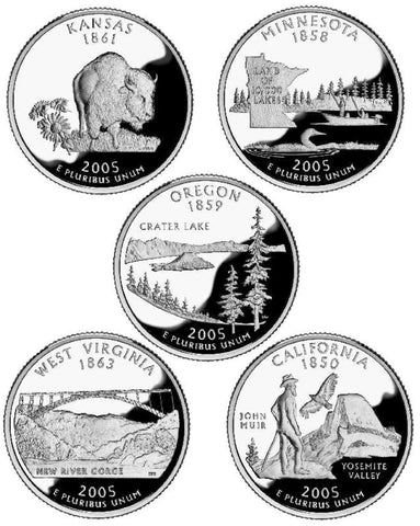 All 10 2005-P and D State Quarters . . . . Choice BU