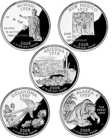 All 10 2008-P and D State Quarters
