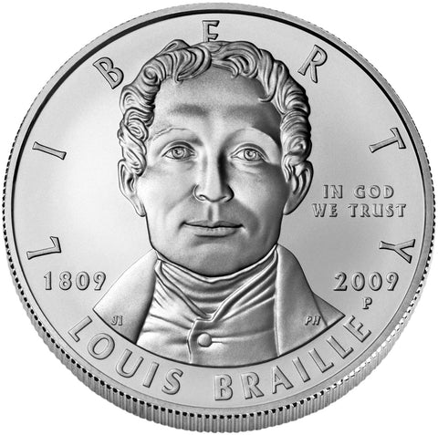 2009-P Louis Braille Silver Dollar <br>Gem Brilliant Uncirculated