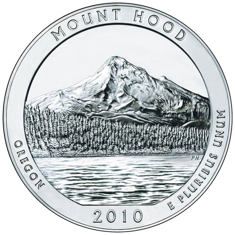 2010 Mt. Hood National Forest, OR Silver 5 oz Coin<br>in Original U.S. Mint Box with COA