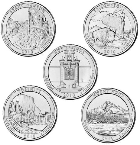 All 10 2010-P and D National Park Quarters