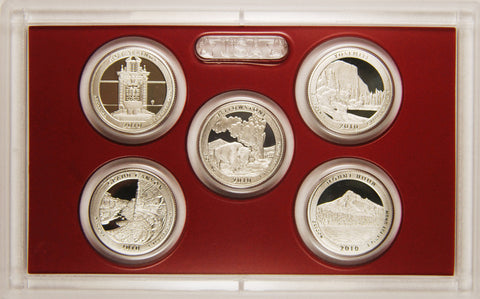 2010-S Silver America the Beautiful Quarter 5-coin Proof Set