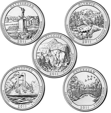 All 10 2011-P and D National Parks Quarters