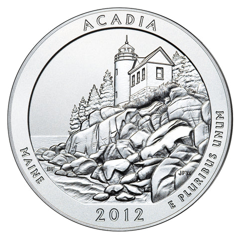 2012 Acadia National Park, ME Silver 5 oz Coin<br>in Original U.S. Mint Box with COA