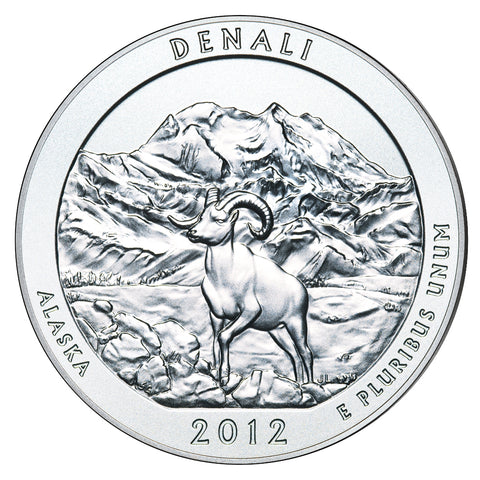 2012 Denali National Park, AK Silver 5 oz Coin<br>in Original U.S. Mint Box with COA