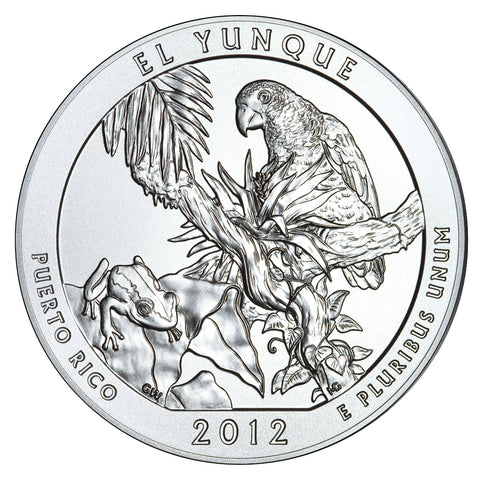 2012 El Yunque National Forest, PR Silver 5 oz Coin<br>in Original U.S. Mint Box with COA