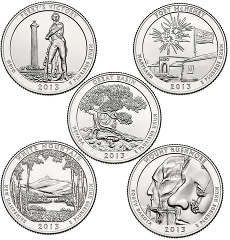 All 10 2013-P and D National Park Quarters