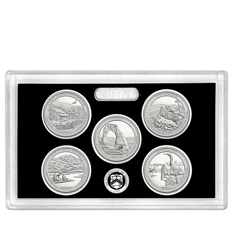 2014-S Silver America the Beautiful Quarter 5-coin Proof Set