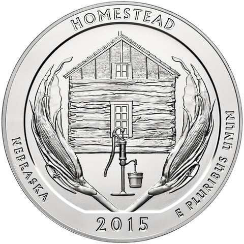 2015 Homestead National Monument, NE Silver 5 oz Coin<br>in Original U.S. Mint Box with COA