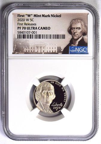 2020-W Jefferson Nickel . . . . NGC Proof-70 Ultra Cameo First Releases