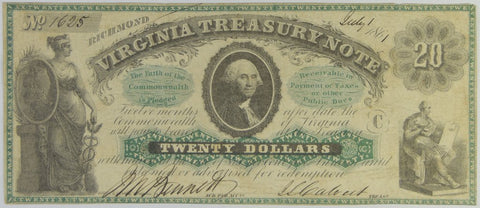 $20.00 1861 Virginia Treasury Note <br>Choice Crisp Uncirculated