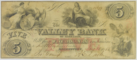 $5.00 1855 The Valley Bank of Hagerstown, Maryland . . . . Very Fine