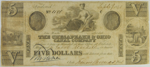 $5.00 1840 Chesapeake and Ohio Canal Company . . . . Very Good
