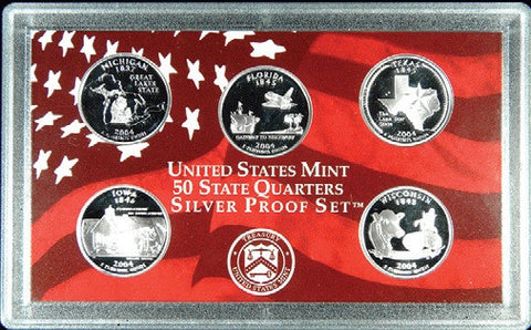 All 5 2004-S Silver State Quarters - in case - no box