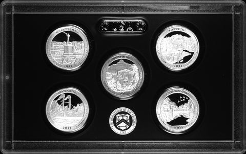 2011-S Silver America the Beautiful Quarter 5-coin Proof Set