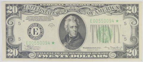 $20.00 1934 A Federal Reserve Note STAR E