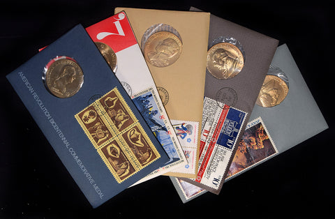 5 Different American Revolutionary Medals and First Day Covers from the 70's