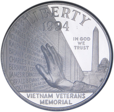 1994-P Vietnam Veterans Memorial Silver Dollar <br>Gem Brilliant Proof