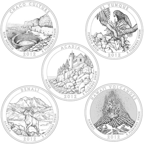 All 10 2012-P and D National Park Quarters . . . . Choice BU