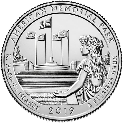 P and D Pair 2019 American Memorial Park Quarter