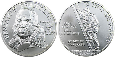 1992 Ben Franklin Firefighters Silver Medal . . . . Gem Brilliant Uncirculated