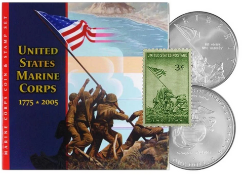 2005 United States Marine Corp Coin and Stamp Set