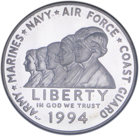 1994-P Women in Military Silver Dollar <br>Gem Proof in capsule