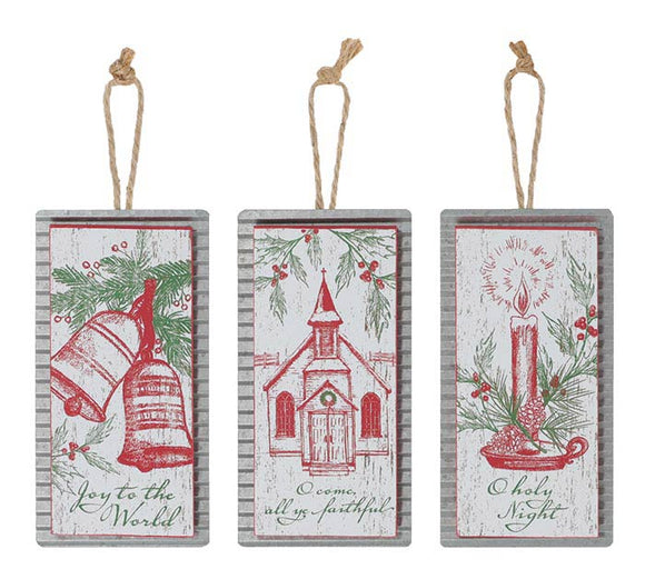 Christmas Scene Ornaments with Christmas Messages