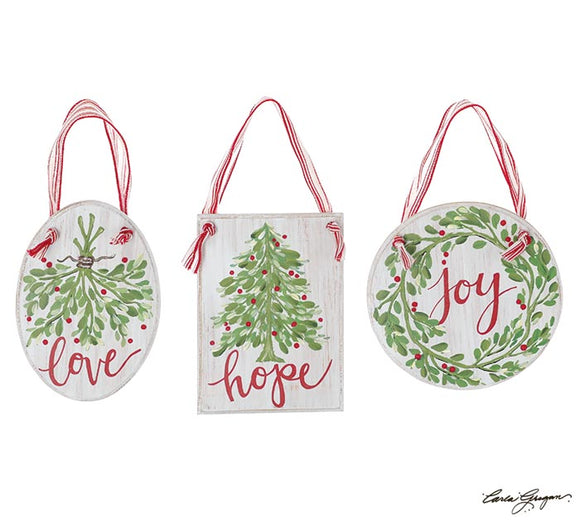 Love, Hope Joy Wood Ornaments (Choice of three)