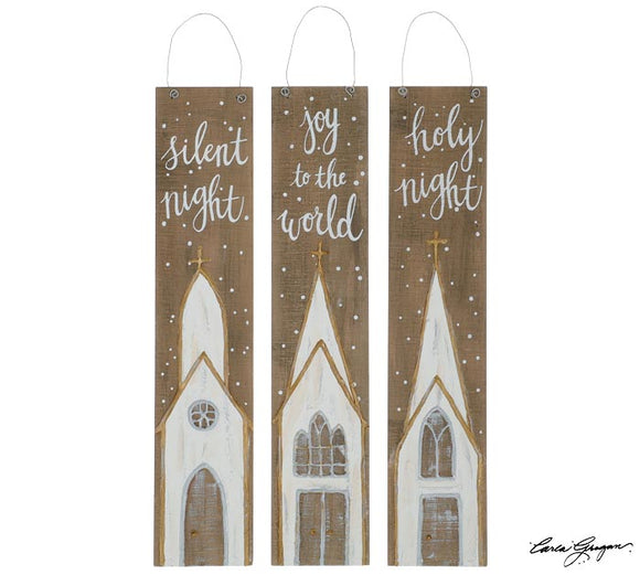 Wood Plank Church Ornaments (Choice of Three Styles)