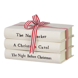 "8"" Cream Stacked Christmas Books"