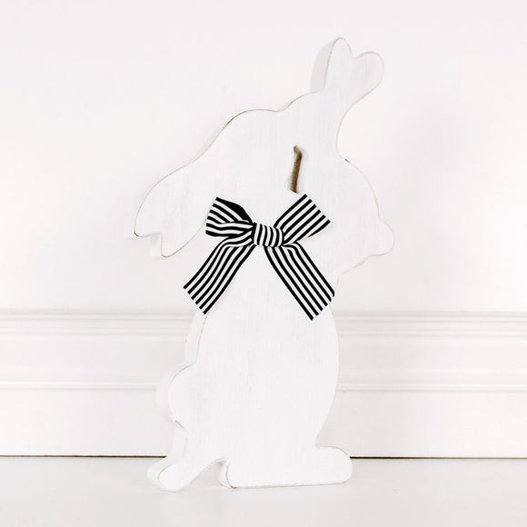 White Wood Bunny Cutout
