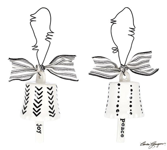 Black and White Ceramic Bell Shaped Ornaments (Choice of two styles)