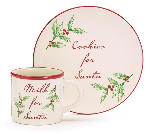 Milk and Cookies for Santa Set - Vintage Holly Design
