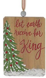 Wood Ornament with Christmas Tree and Messages