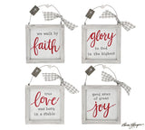 Framed Boxed Ornaments with Messages (Choice of Four)