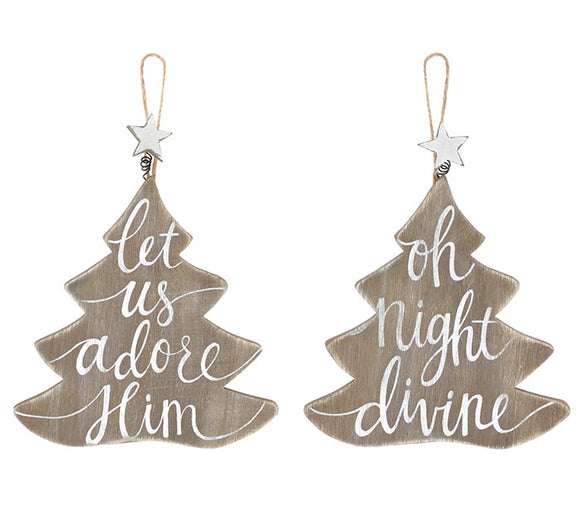 Wood Christmas Tree Shaped Ornaments (Choice of Two)