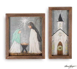 Wood Framed Canvas Christmas Scenes (Choice of two styles)